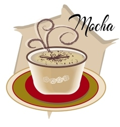 Mocha coffee also called Caffe with wooden saucer vector