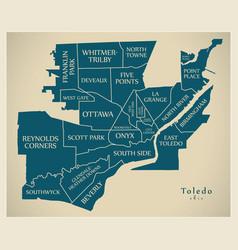 modern city map - toledo ohio city of the usa vector image