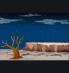 Nature scene with dry land at night time vector
