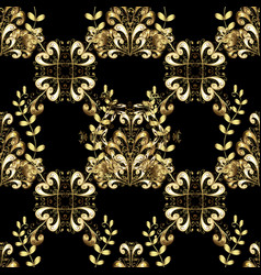 Oriental classic black and golden pattern vector