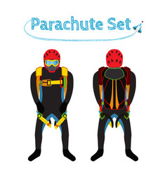 Parachuters set - parachute pack bright extreme vector