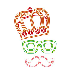 party mustache crown glasses decoration neon night vector image