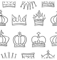 pattern crown hand draw collection vector image vector image