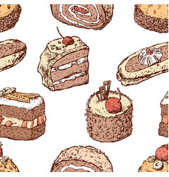 pattern of of different drawn cakes vector image