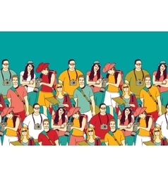 People tourists group and sky summer color vector