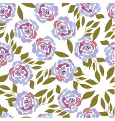 pink and purple roses with green leaves on white vector image