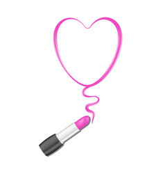 pink heart and lipstick vector image