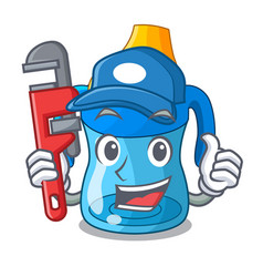 plumber baby training cup isolated on mascot vector image
