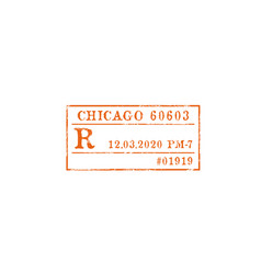 postage stamp chicago post office isolated mark vector image