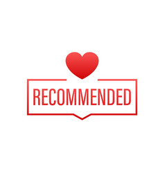 recommend icon red label recommended on red vector image