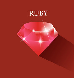 Ruby design with long shadow vector