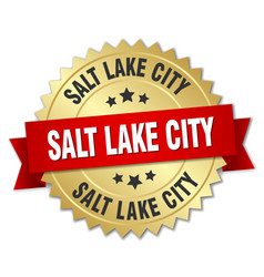 Salt lake city round golden badge with red ribbon vector