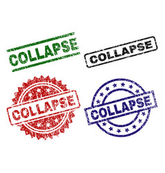 Scratched textured collapse stamp seals vector