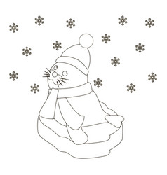 Seal baby on an ice floe coloring page vector