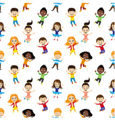 seamless background with jumping children vector image