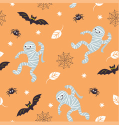 Seamless halloween background fun mummies bat vector