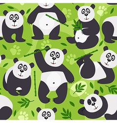 Seamless pattern panda bear vector