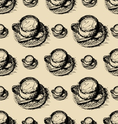 seamless pattern sketch drawing of coffee vector image