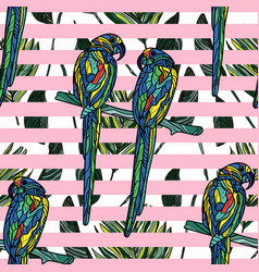seamless pattern with parrots vector image