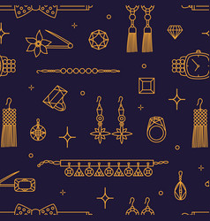 seamless pattern with stylish luxury jewelry items vector image