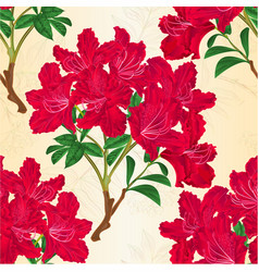 Seamless texture red rhododendron branch vintage vector