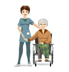 Senior woman on wheelchair and nurse vector