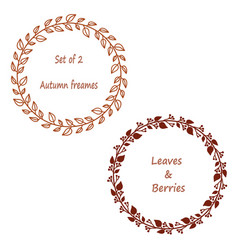 set of 2 wreaths in brown color vector image