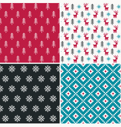 set of four winter forest pixel patterns set 2 vector image