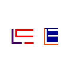 set of initial letter le logo template design vector image