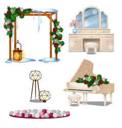 set of vintage furniture interior items isolated vector image