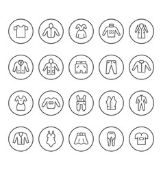 set round line icons of clothes vector image