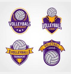 Set volleyball logo template vector