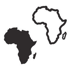 Simplified africa continent outline and silhouette vector