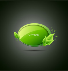 Speech bubble green leaf vector image