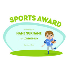 Sports award diploma template kids certificate vector