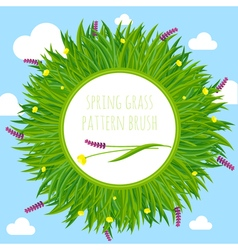 Spring grass pattern brush border frame vector