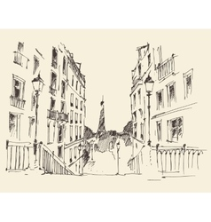 Streets in Paris France Vintage Hand Drawn vector image vector image