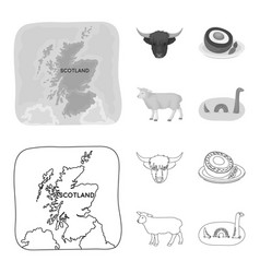 Territory on the map bull head cow eggs vector