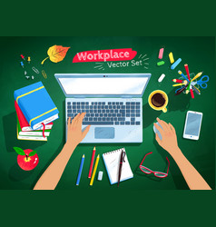 top view set of student workplace vector image