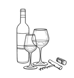 two watercolor glasses of wine bottle cork and vector image
