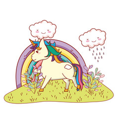 unicorn with rainbow vector image