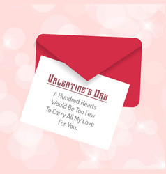 valentines day card with envelope vector image