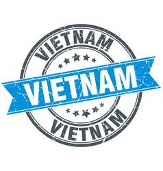 Vietnam blue round grunge vintage ribbon stamp vector