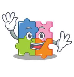 Waving puzzle character cartoon style vector