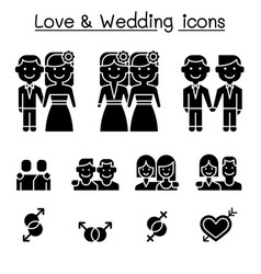 wedding loving icon set vector image