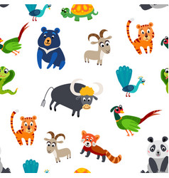 wild asia animals seamless pattern in flat style vector image