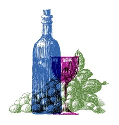wine bottle logo design template grapes or vector image