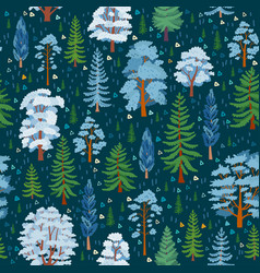 winter forest tree pattern woodland seamless vector image