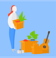 Woman carry cardboard box moving to flat vector