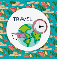 world plane clock time tourist vacation travel vector image